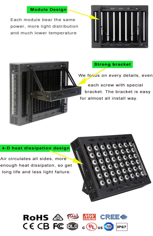 Dimmable Resistant Outdoor Led Flood Light 400W PF 0.98 Meanwell Driver