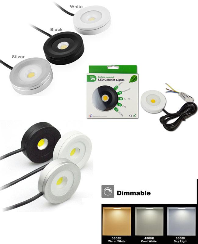 IP65 Dimmable led cabinet lights, Round shape, 3W recessed & surface mounted downlights