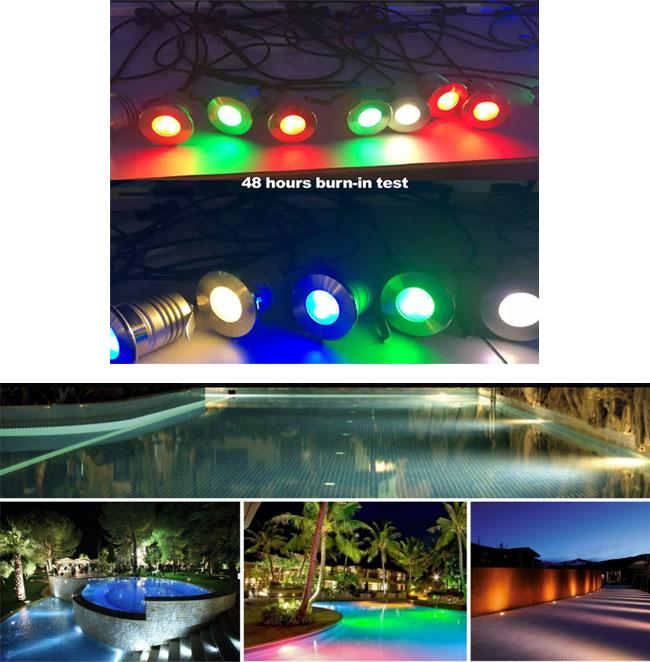 IP68 3W at 280LM Underwater led lights, stainless steel material, 45° beam angle