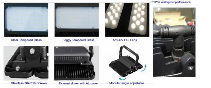 600W 155lm/W Outdoor LED Flood Lights With 10 Years Warranty , Black Color Body , Professional Beam Angle