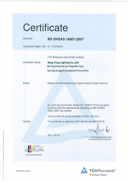 China Ming Feng Lighting Co.,Ltd. Certification